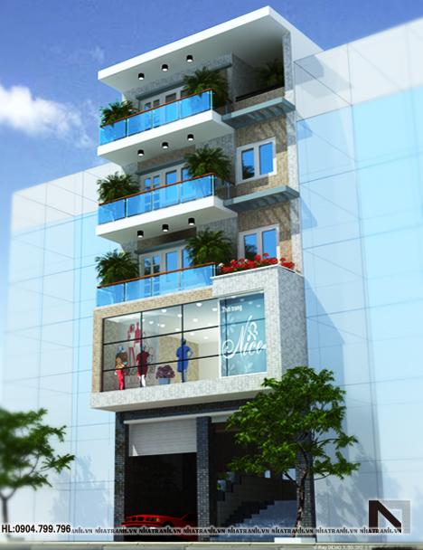 Phối cảnh tổng thể mẫu thiết kế nhà ở kết hợp cửa hàng 5 tầng hiện đại NT-L3619