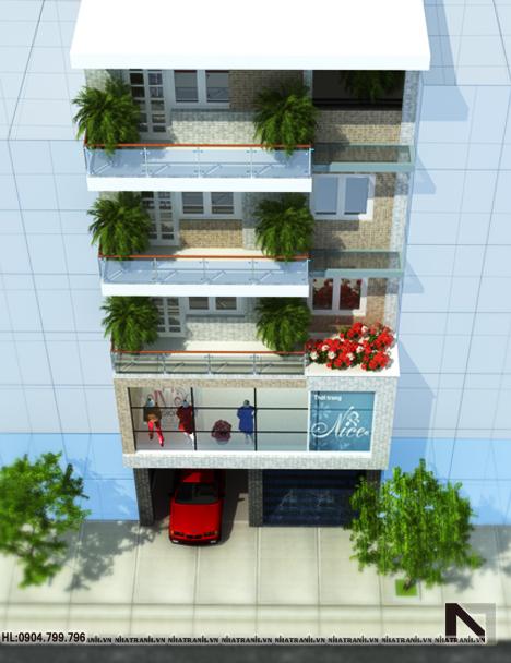 Ảnh: Phối cảnh tổng thể mẫu thiết kế nhà ở kết hợp cửa hàng 5 tầng hiện đại NT-L3619