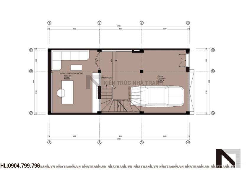 Mặt bằng chi tiết tầng điển hình mẫu nhà lô phố 6 tầng đẹp hiện đại NT-L3627