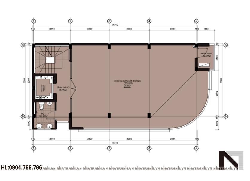 Ảnh: Mặt bằng chi tiết tầng điển hình mẫu nhà lô góc 5 tầng NT-L3617