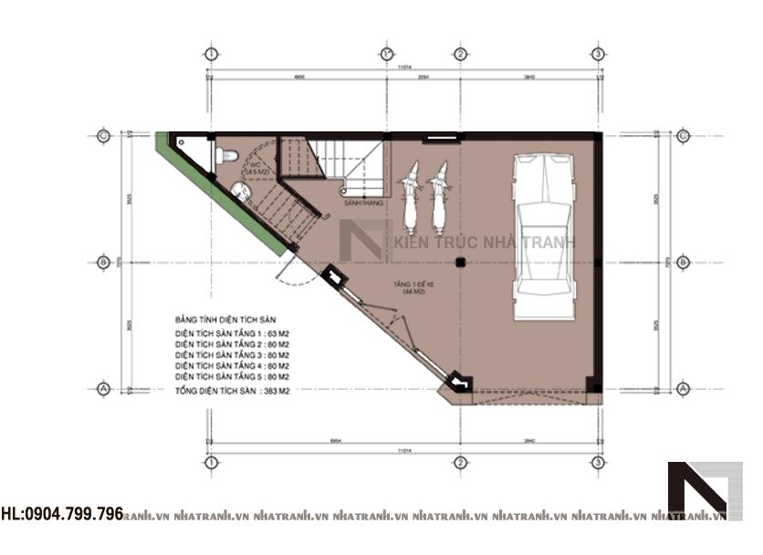 Thiết kế nhà lô góc 5 tầng phong cách hiện đại-mbt1