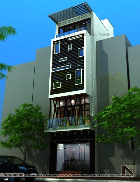 Phối cảnh tổng thể mẫu nhà lô phố 6 tầng đẹp hiện đại NT-L3627