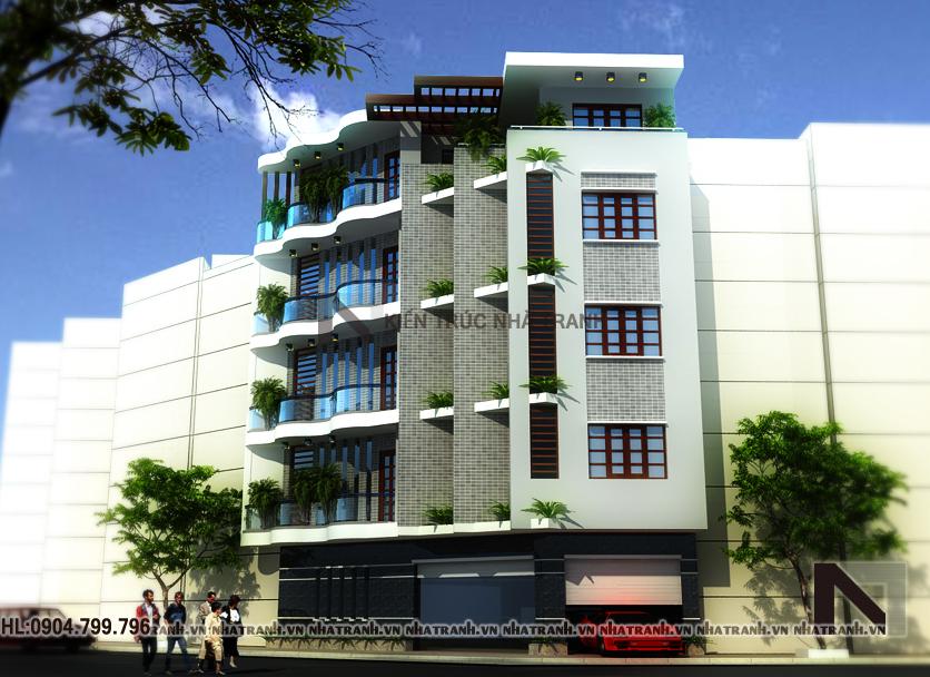 Thiết kế nhà lô góc 5 tầng phong cách hiện đại-pc01