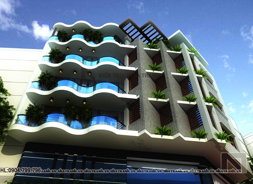 Thiết kế nhà lô góc 5 tầng phong cách hiện đại-pc03