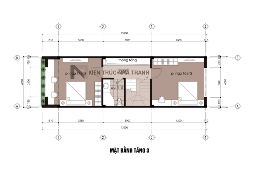 Ảnh: Mặt bằng tầng 2 mẫu nhà lô 5 tầng đẹp phong cách hiện đại NT-L3615