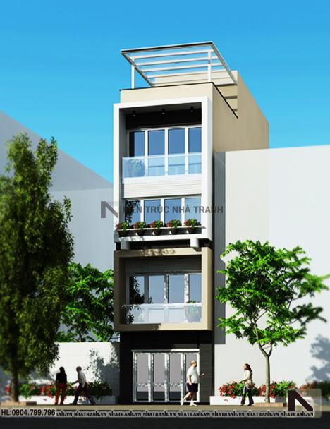Phối cảnh tổng thể mẫu nhà lô 5 tầng đẹp phong cách hiện đại NT-L3615