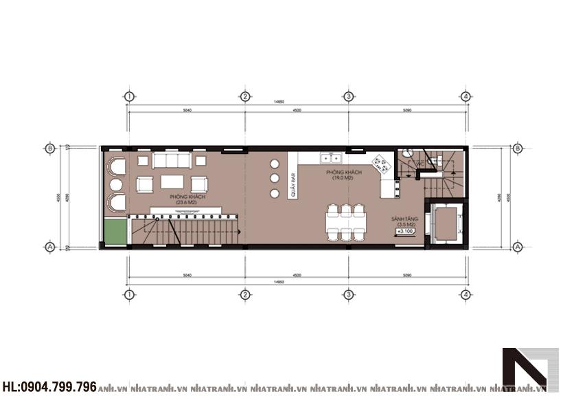 Mặt bằng chi tiết tầng điển hình mẫu nhà ống 1 mặt tiền 5 tầng hiện đại NT-L3602
