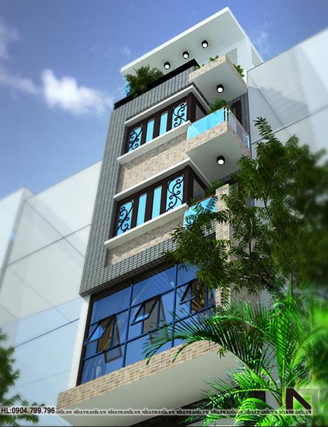 Ảnh: Phối cảnh tổng thể mẫu nhà ống 1 mặt tiền 5 tầng hiện đại NT-L3602