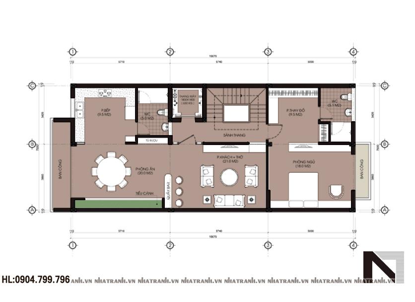 Ảnh: Mặt bằng chi tiết tầng điển hình mẫu thiết kế nhà để ở và kinh doanh 5 tầng hiện đại NT-L3620