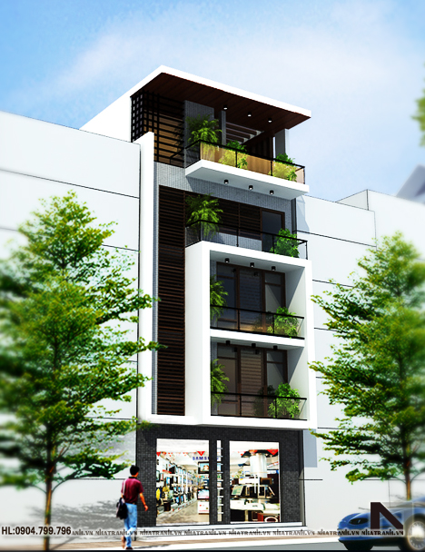 Ảnh: Phối cảnh tổng thể mẫu thiết kế nhà để ở và kinh doanh 5 tầng phong cách hiện đại NT-L3620