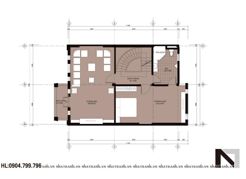 Ảnh: Mặt bằng chi tiết tầng điển hình mẫu nhà đẹp 6 tầng phong cách cổ điển NT-L3611