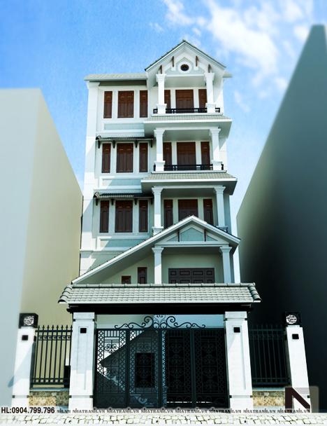 Ảnh: Phối cảnh tổng thể mẫu nhà đẹp 6 tầng phong cách cổ điển NT-L3611