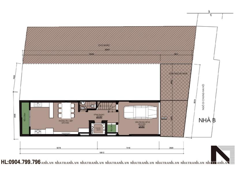 Ảnh: Mặt bằng quy hoạch tổng thể mẫu nhà phố song lập 6 tầng hiện đại NT-L3618