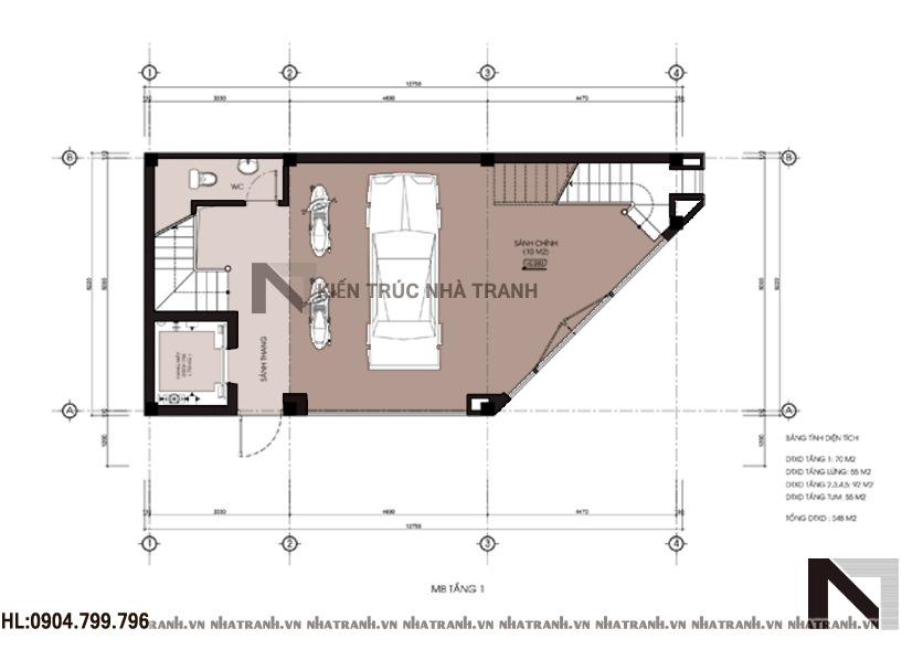 nhà lô góc 6 tầng phong cách hiện đại-mbt1