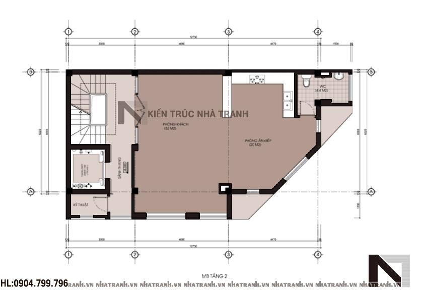 Ảnh: Mặt bằng tầng 2 mẫu nhà lô góc 6 tầng NT-L3639