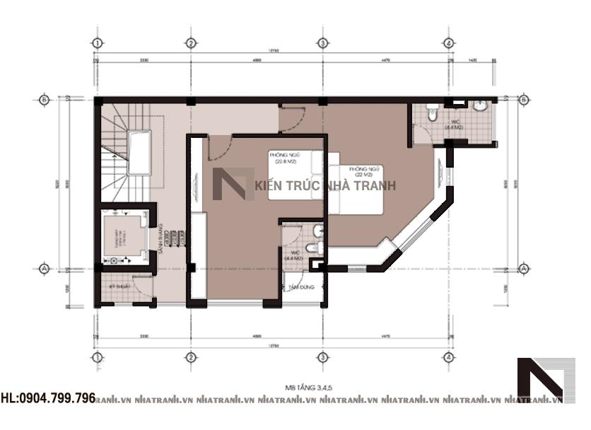 Ảnh: Mặt bằng tầng 3,4,5 mẫu nhà lô góc 6 tầng NT-L3639