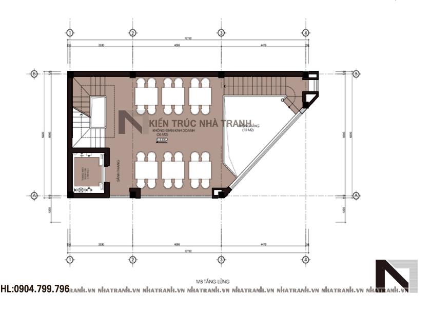 Ảnh: Mặt bằng tầng lửng mẫu nhà lô góc 6 tầng NT-L3639