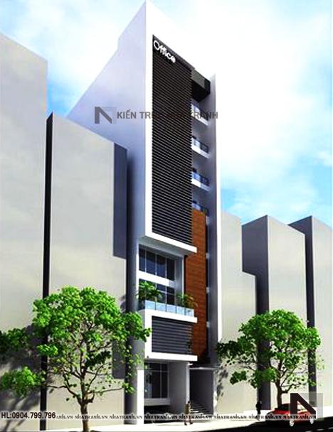 Mẫu tòa nhà văn phòng đẹp 9 tầng phong cách hiện đại