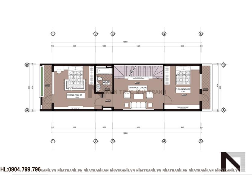 Mặt bằng chi tiết tầng điển hình mẫu nhà mặt phố 3 tầng đẹp hiện đại NT-L3622
