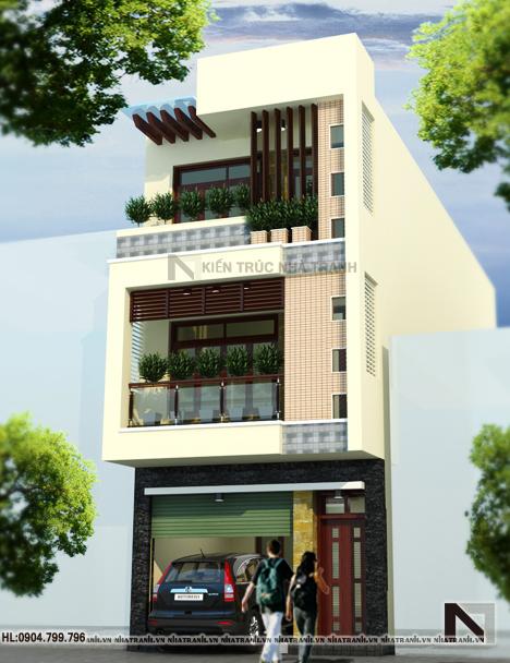 Phối cảnh tổng thể mẫu nhà mặt phố 3 tầng đẹp hiện đại NT-L3622