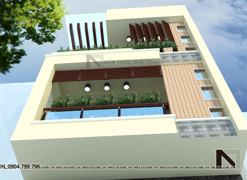 Ảnh: Phối cảnh tổng thể mẫu nhà mặt phố 3 tầng đẹp hiện đại NT-L3622