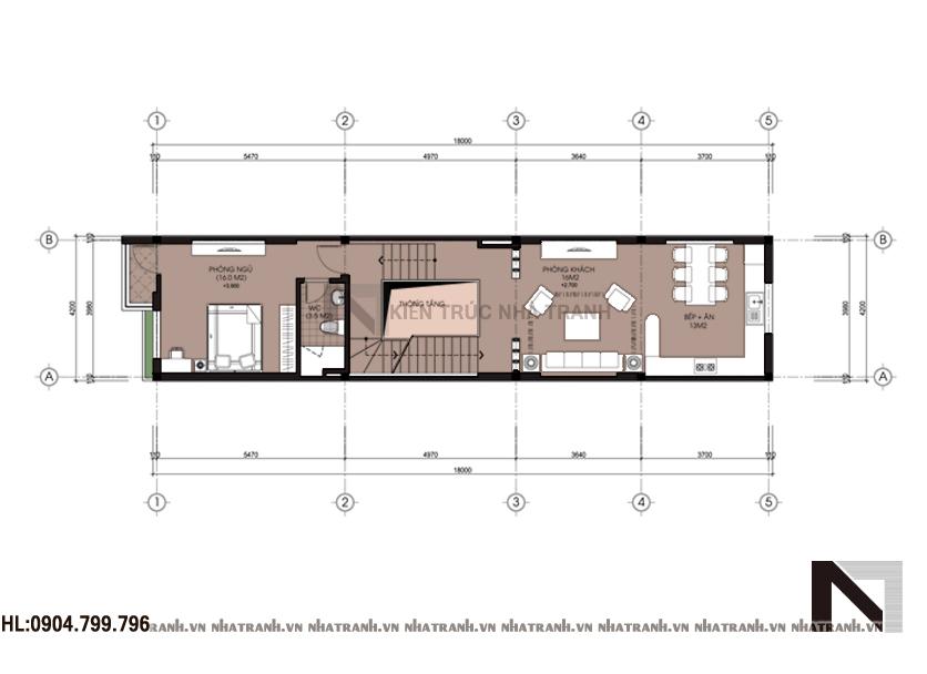 Mặt bằng chi tiết tầng điển hình mẫu nhà lô phố lệch tầng đẹp, 3 tầng phong cách hiện đại NT-L3625