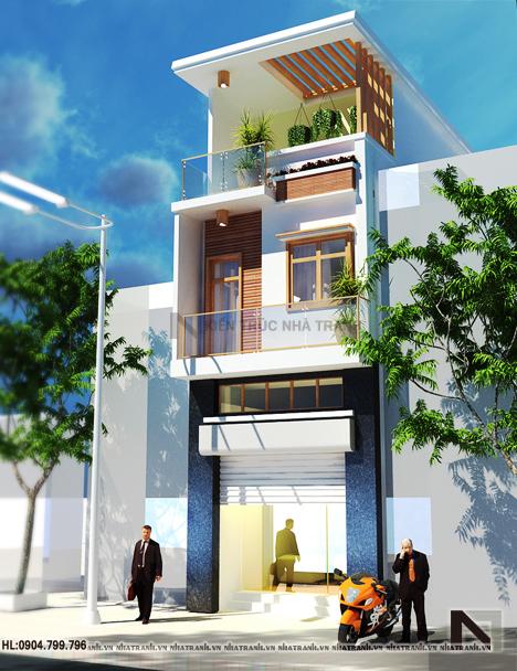 Phối cảnh tổng thể mẫu nhà lô phố lệch tầng đẹp, 3 tầng phong cách hiện đại NT-L3625