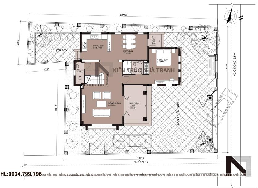 Mặt bằng quy hoạch tổng thể mẫu biệt thự 2 tầng mái ngói
