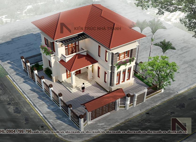 Phối cảnh tổng thể công trình mẫu biệt thự 2 tầng mái ngói
