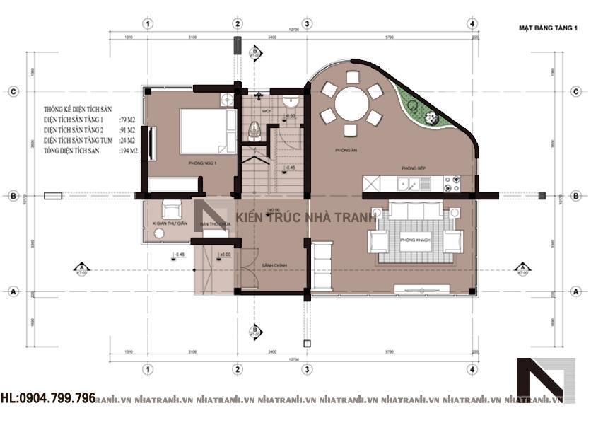 Mặt bằng tầng 1 mẫu biệt thự phố hiện đại 3 tầng NT - B6358