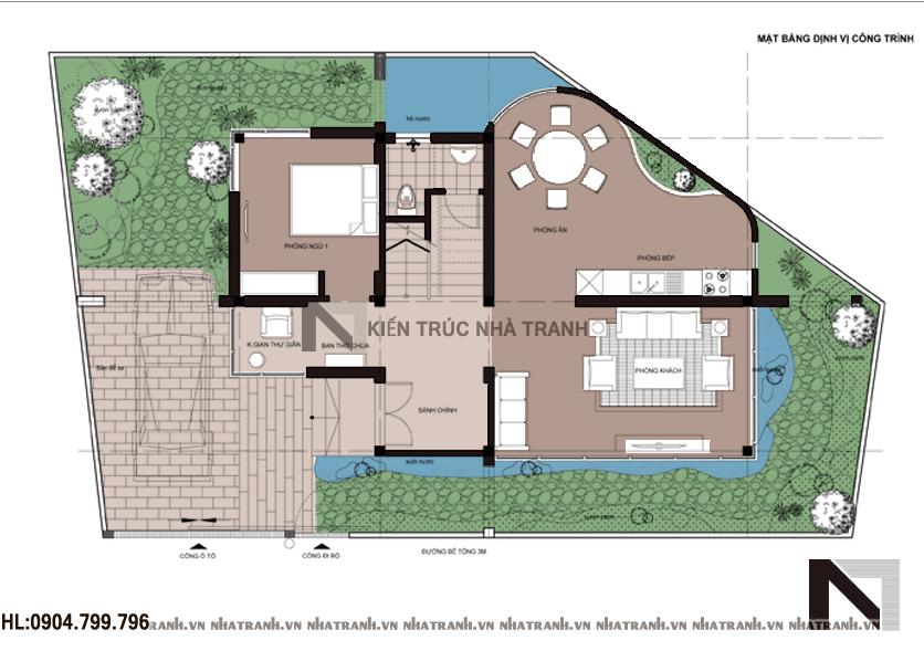 Mặt bằng quy hoạch tổng thể mẫu biệt thự phố hiện đại 3 tầng NT - B6358