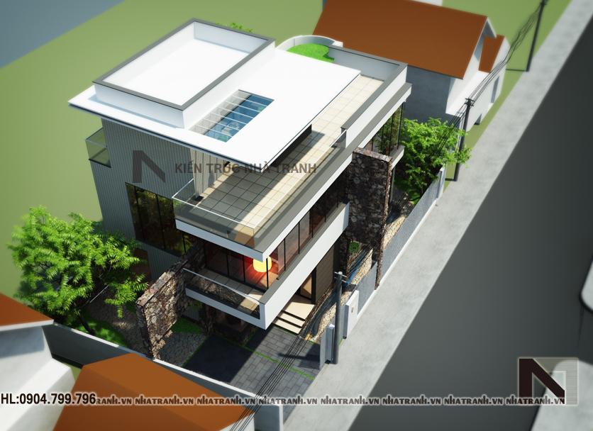 Phối cảnh tổng thể mẫu biệt thự phố hiện đại 3 tầng NT - B6358