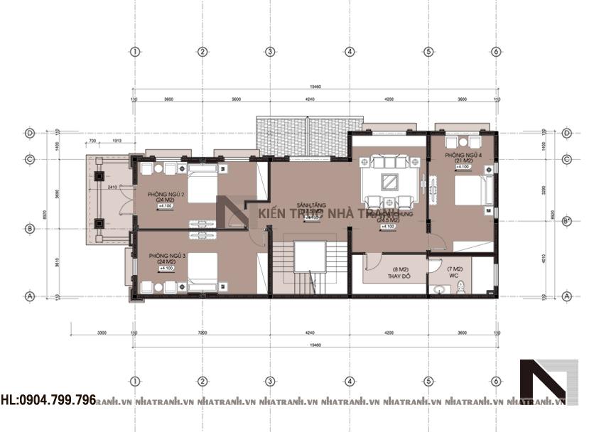Mặt bằng chi tiết tầng điển hình mẫu biệt thự cổ điển 3 tầng NT-B6359