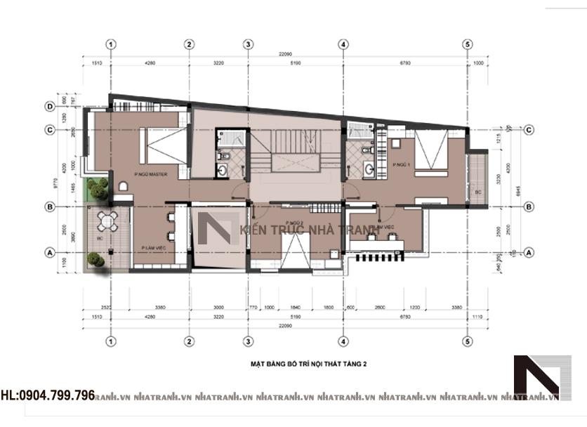Mặt bằng tầng 2 mẫu biệt thự 3 tầng hai mặt tiền phong cách hiện đại