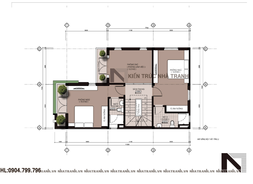 Mặt bằng tầng 2 mẫu biệt thự phố mặt tiền 8m NT - 6370