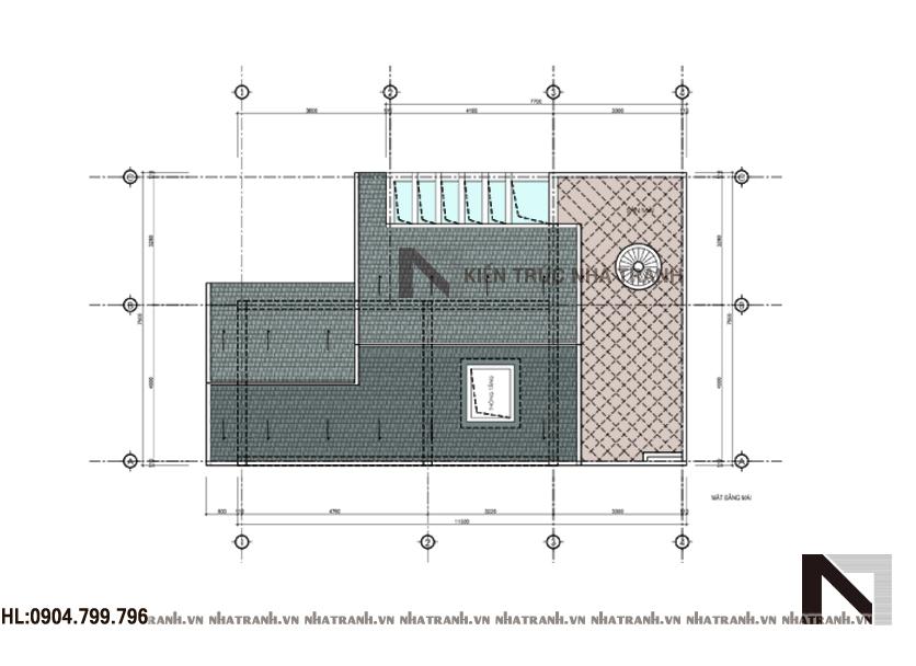 Mặt bằng tầng mái mẫu biệt thự phố mặt tiền 8m NT - 6370