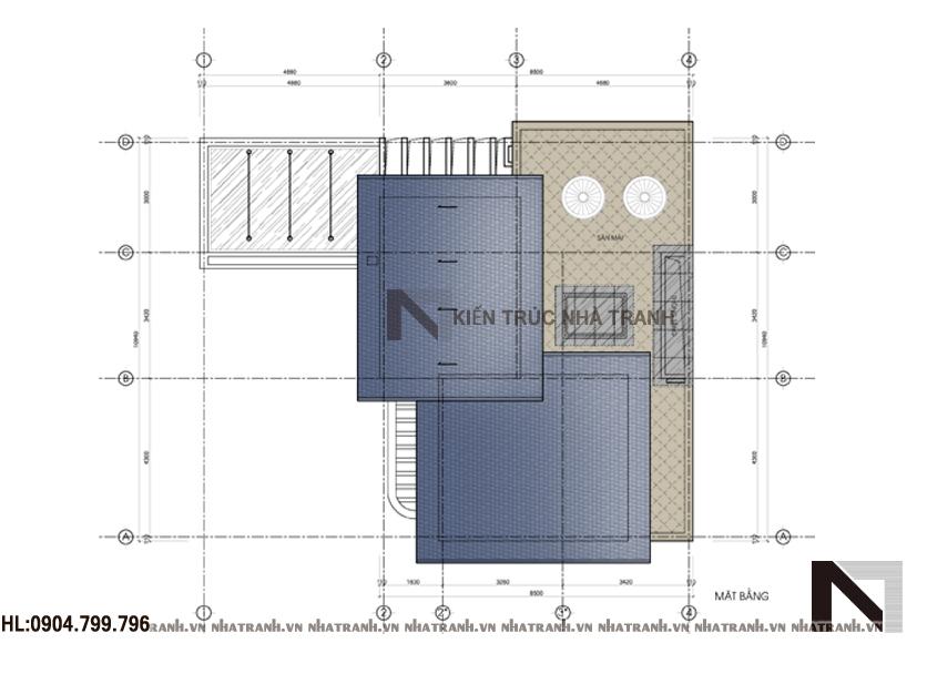 Ảnh: Mặt bằng tầng mái mẫu biệt thự mái dốc 3 tầng hiện đại NT-B6368