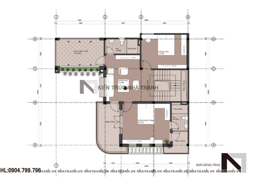 Ảnh: Mặt bằng tầng 1 mẫu biệt thự mái dốc 3 tầng hiện đại NT-B6368