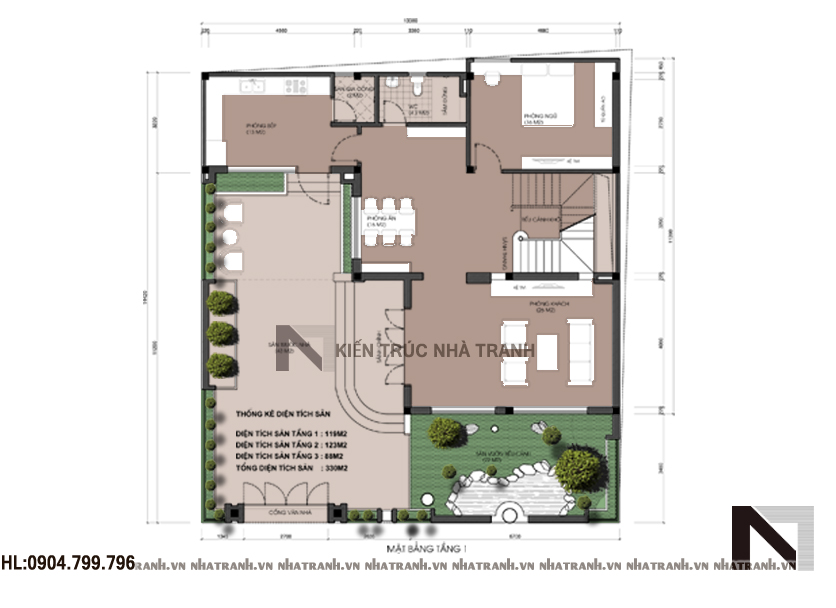 Ảnh: Mặt bằng quy hoạch tổng thể mẫu biệt thự mái dốc 3 tầng hiện đại NT-B6368