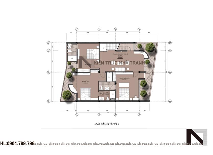 Mặt bằng tầng 2 biệt thự phố hiện đại mặt tiền 10m