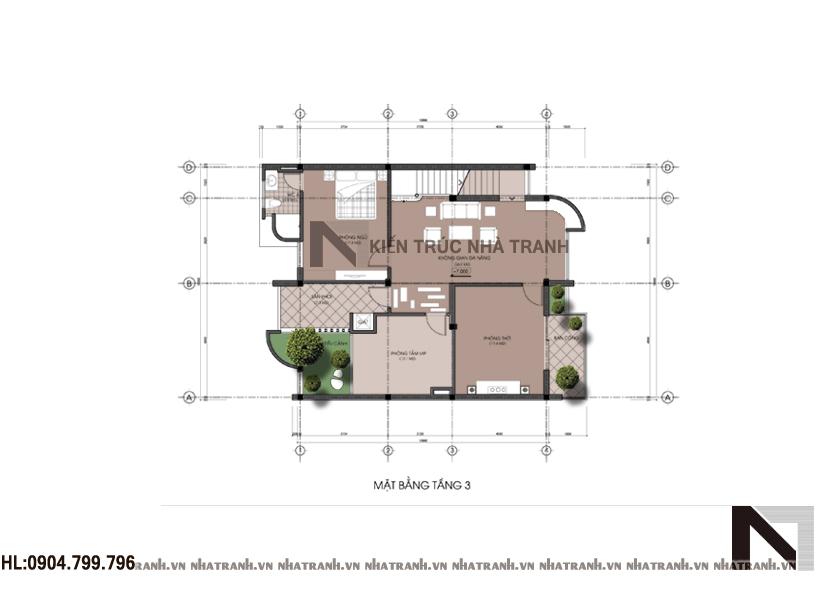 Mặt bằng tầng 3 biệt thự phố hiện đại mặt tiền 10m
