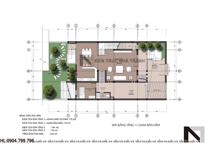 Mặt bằng tầng 1 và tầng hầm biệt thự phố hiện đại mặt tiền 10m
