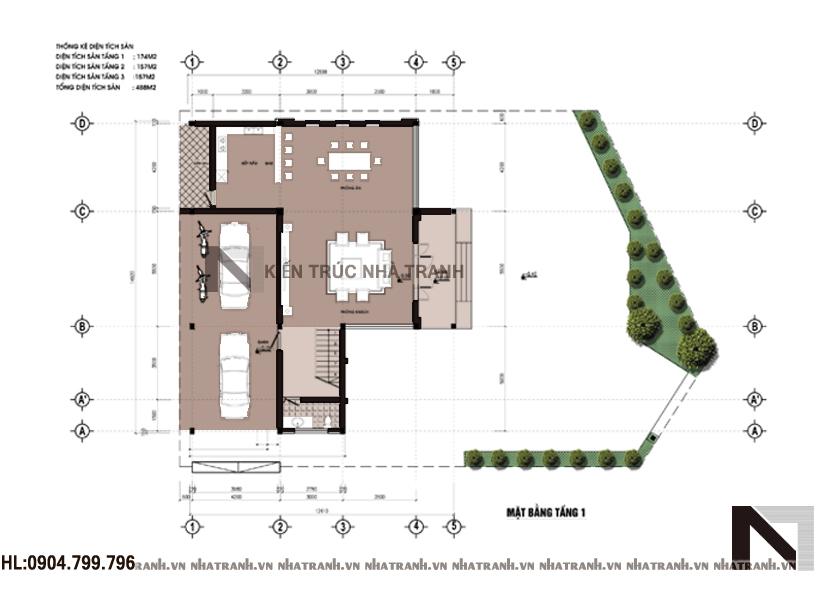 Ảnh: Mặt bằng quy hoạch tổng thể mẫu nhà biệt thự kiểu hiện đại 3 tầng NT-B6357