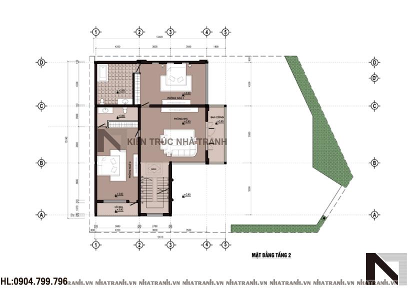 Ảnh: Mặt bằng chi tiết tầng điển hình mẫu nhà biệt thự kiểu hiện đại 3 tầng NT-B6357