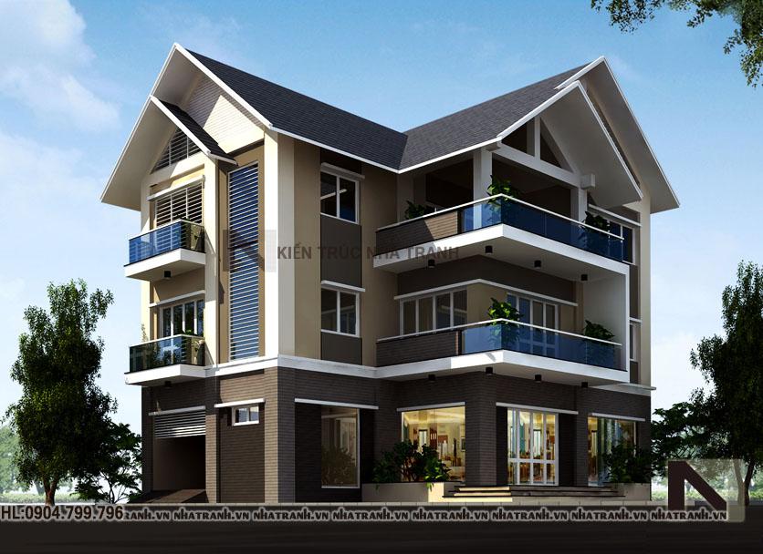 Ảnh: Phối cảnh tổng thể 02 mẫu nhà biệt thự kiểu hiện đại 3 tầng NT-B6357