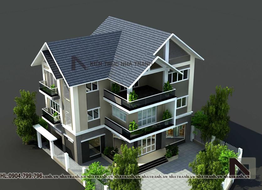 Ảnh: Phối cảnh tổng thể mẫu nhà biệt thự kiểu hiện đại 3 tầng NT-B6357