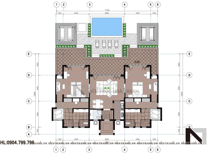 Ảnh: Mặt bằng quy hoạch tổng thể mẫu biệt thự vườn 1 tầng đẹp phong cách hiện đại NT-B6346