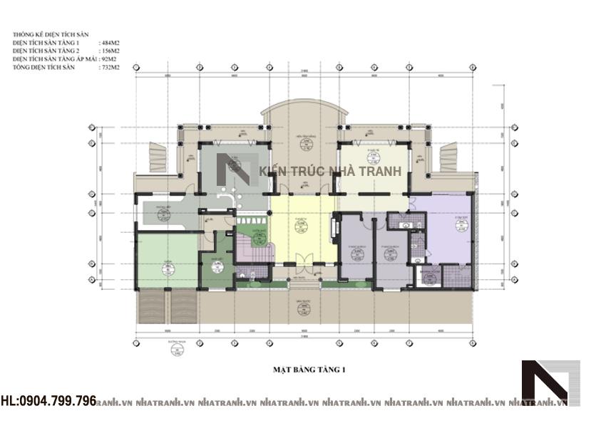 Mặt bằng quy hoạch tổng thể mẫu biệt thự vườn 2 tầng mái ngói phong cách hiện đại NT-B6352