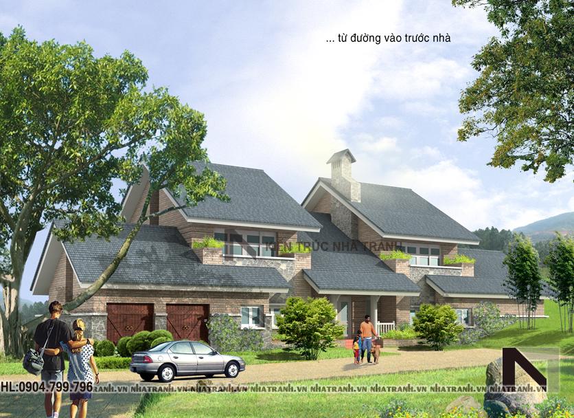 Ảnh: Phối cảnh tổng thể mẫu biệt thự vườn 2 tầng mái ngói phong cách hiện đại NT-B6352