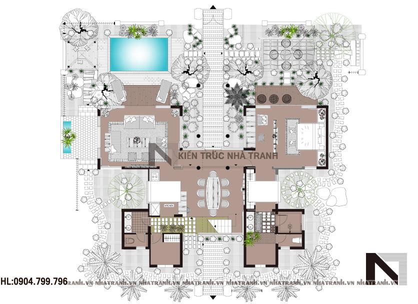 Ảnh: Mặt bằng quy hoạch tổng thể mẫu nhà vườn 2 tầng hiện đại NT-B6341